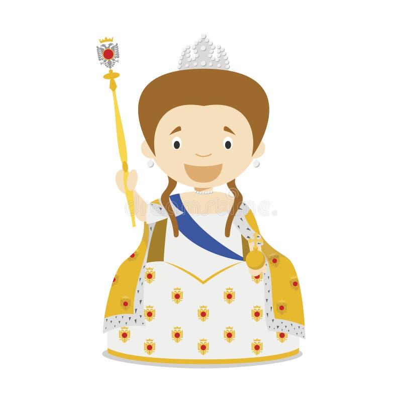 Catherine II della Russia il grande personaggio dei cartoni animati Illustrazione di vettore illustrazione di stock