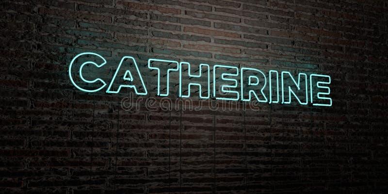 CATHERINE - insegna al neon realistica sul fondo del muro di mattoni - 3D ha reso l'immagine di riserva libera della sovranità royalty illustrazione gratis