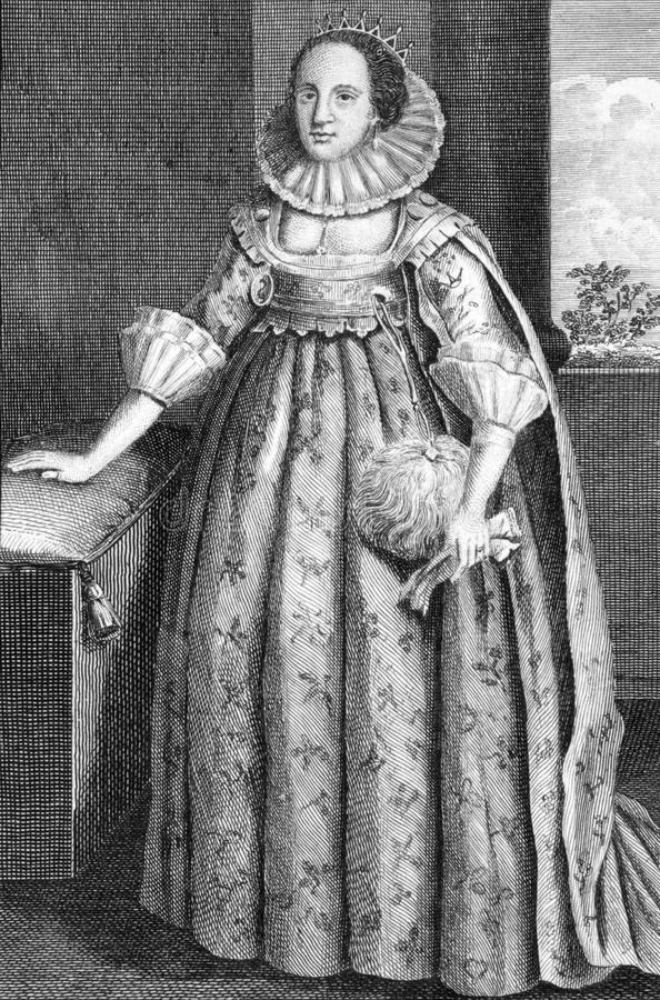 Catherine Knevet. (1564-1633) on engraving from 1784. Countess of Suffolk, second wife of Thomas Howard, 1st Earl of Suffolk. Engraved for Walpoole's new royalty free stock image