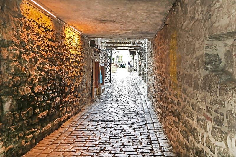 Catherine Lane è breve lane135 m. nel distretto storico di Città Vecchia, Tallinn, Estonia fotografia stock libera da diritti