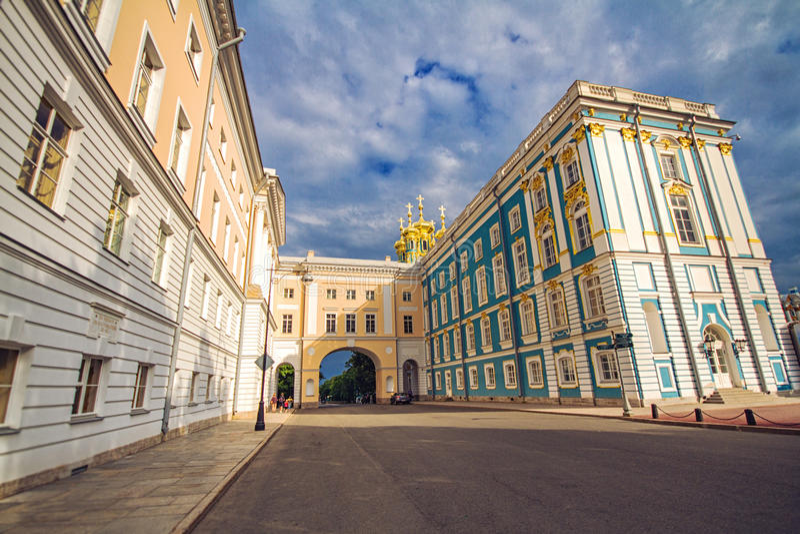 Catherine Lyceum w Tsarskoe Selo i pałac obraz royalty free