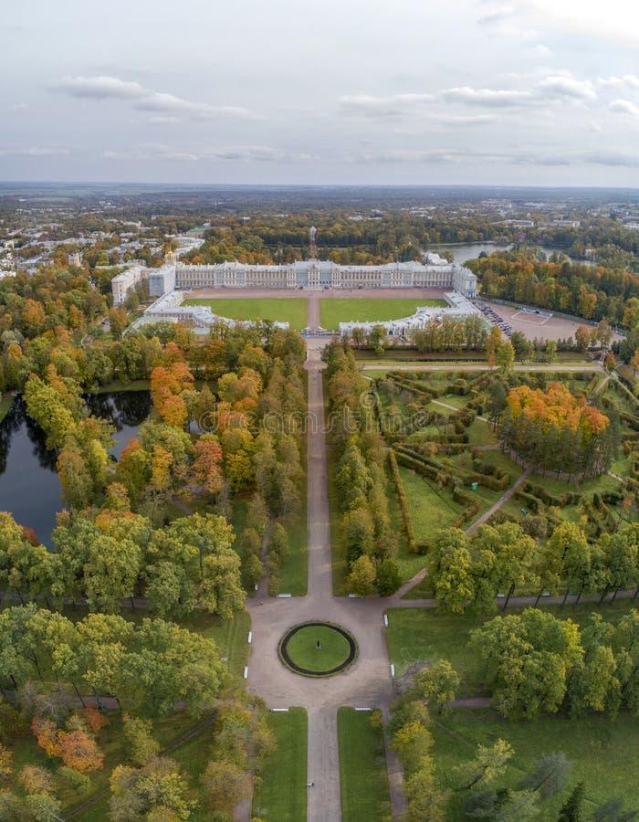 Catherine Palace en Alexander Park stock afbeelding