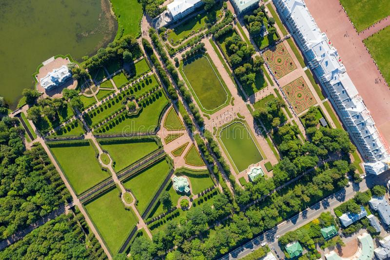 The Catherine Palace, and garden top aerial view at sunny day royalty free stock photos