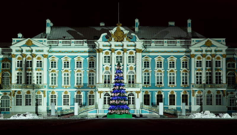 Catherine Palace in winter night, Russia royalty free stock photo
