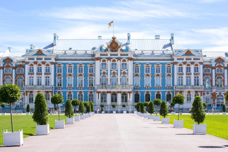 Catherine slott i Tsarskoe Selo, St Petersburg, Ryssland arkivfoto
