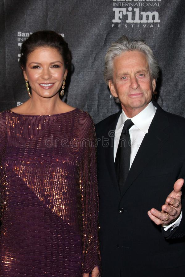 Catherine Zeta-Jones, quatre saisons, Kirk Douglas, Michael Douglas photo libre de droits