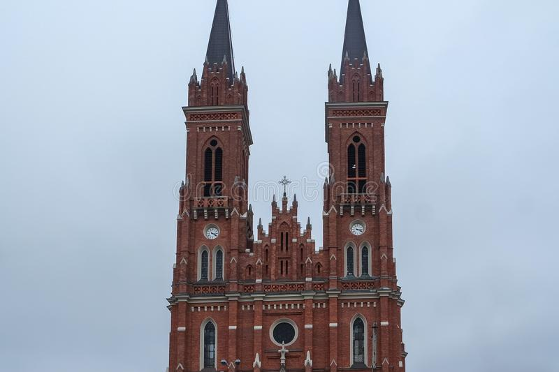 Catholic Basilica of the Dormition of Blessed Virgin Mary, Lodz stock photos