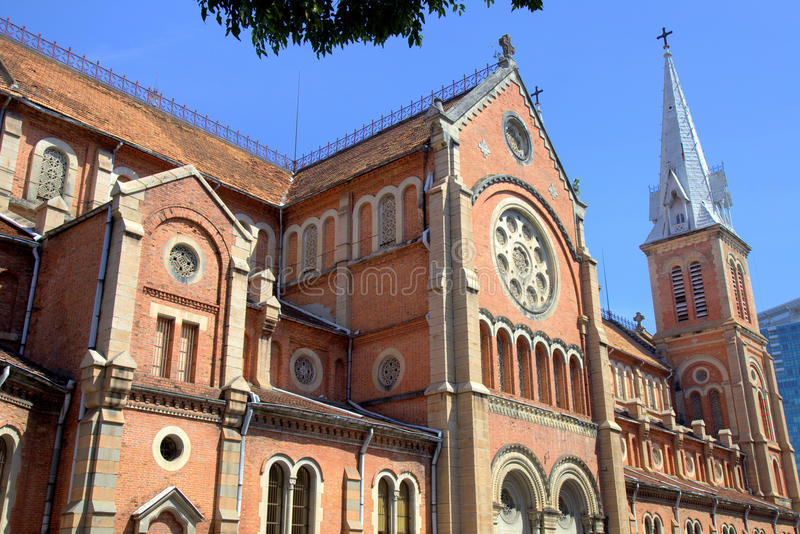 Catholic Basilica in Saigon stock photography
