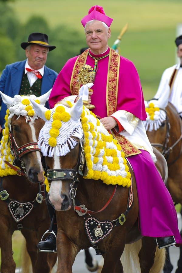 Catholic bishop on horse royalty free stock images