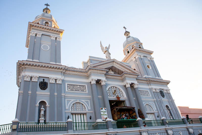 Catholic Cathedral church during Christmas time at sunset stock photo