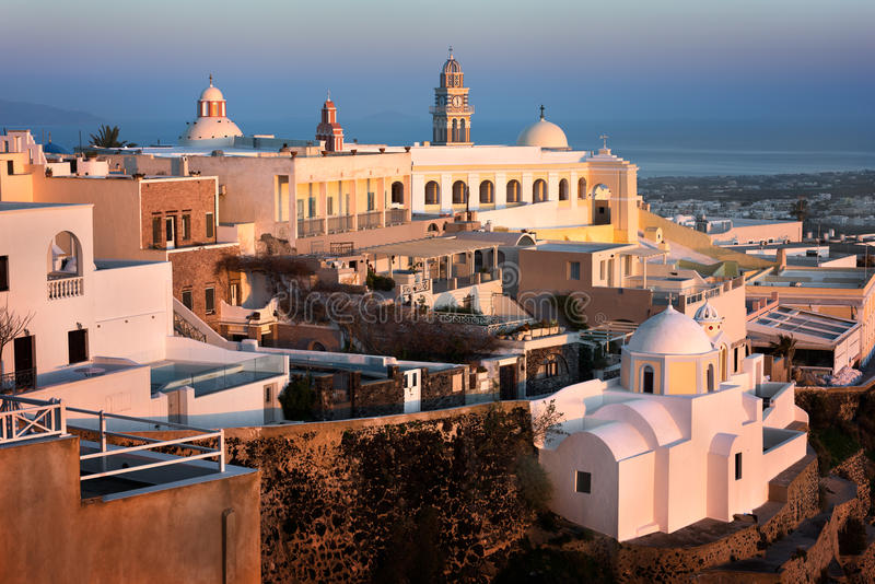 Catholic Cathedral Church of Saint John The Baptist in the Evening, Fira, Santorini stock images