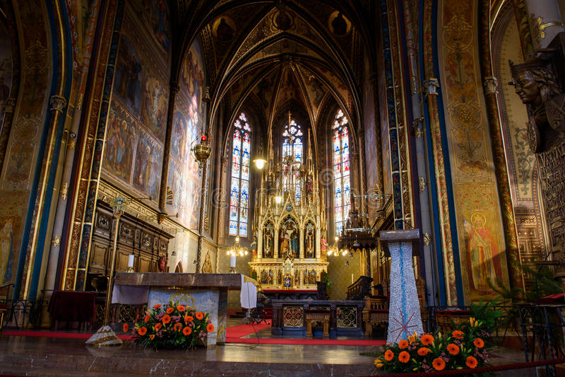 Catholic Cathedral inside. Peter and Paul Cathedral, Prague stock photo