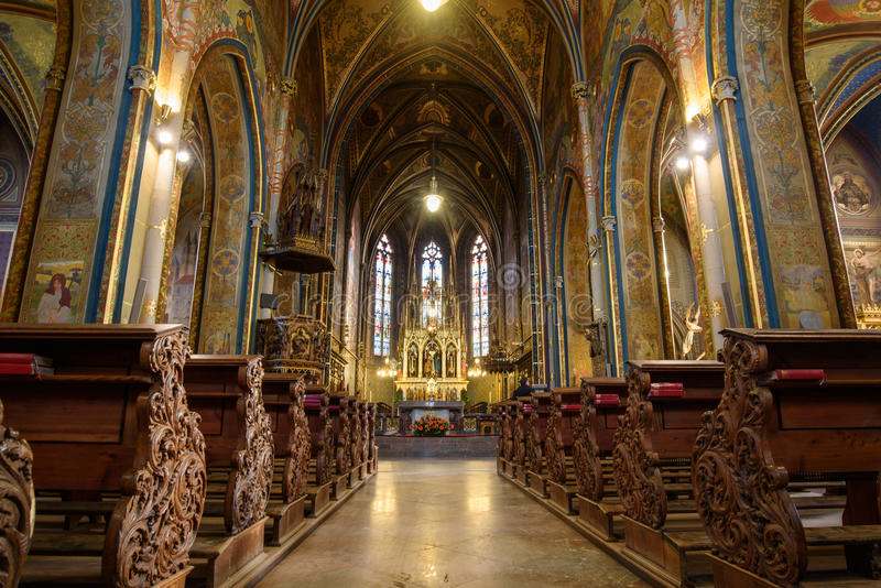 Catholic Cathedral inside. Peter and Paul Cathedral, Prague royalty free stock image