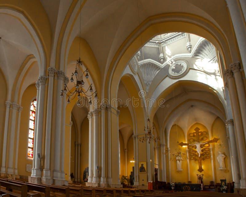 Catholic cathedral luminous altar stock images