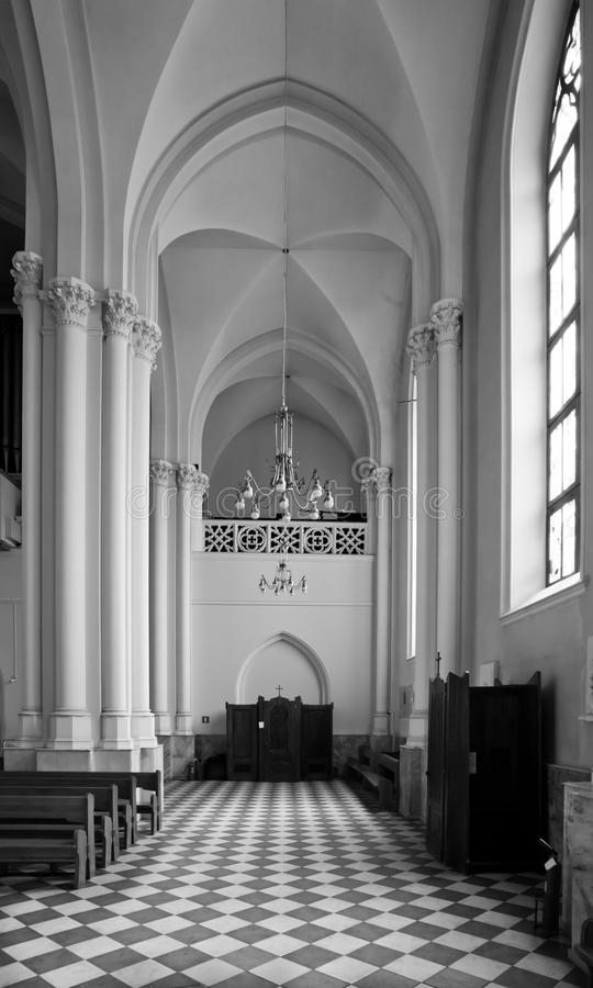 Catholic cathedral strict geometricity, lines and squares royalty free stock image