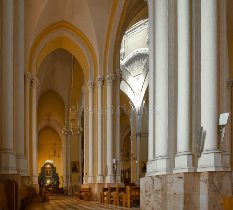 Catholic cathedral strict lines of columns royalty free stock photos