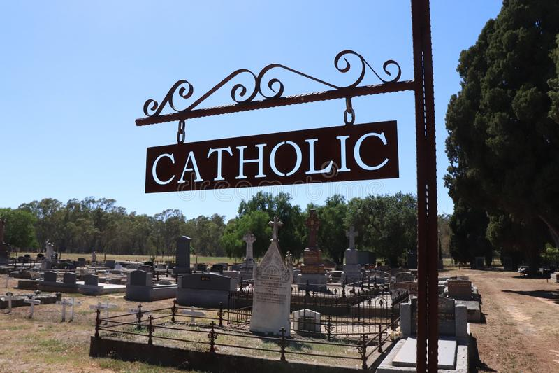 Catholic cemetary sign royalty free stock photography