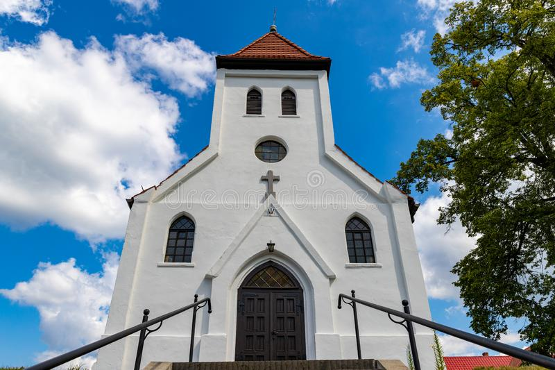 The Catholic church built in the Prussian wall technology in Central Europe. A small temple in a small village royalty free stock photos