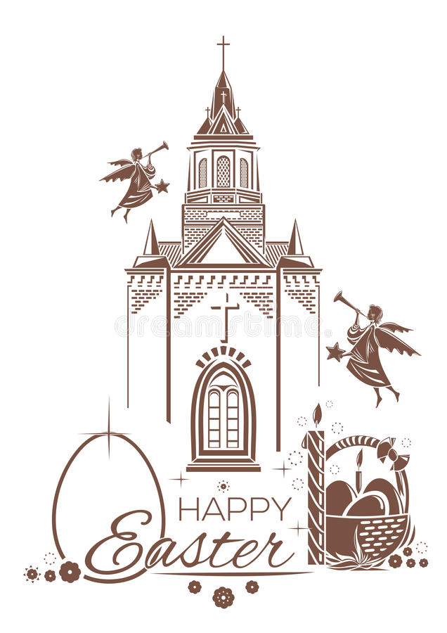 Catholic Church, burning candle, basket of Easter eggs, angels blow trumpets vector illustration