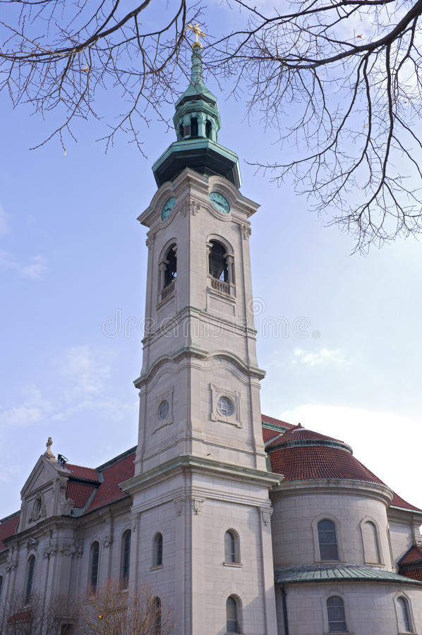 Church Bell Tower in Saint Paul royalty free stock photos