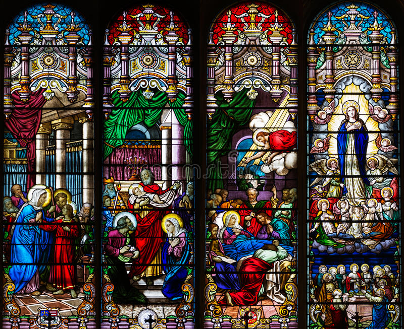 Download Catholic Church Four Stained Glass Long Windows Stock Photo