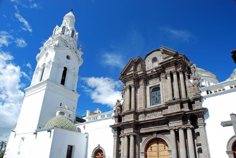 Quito - Ecuador - Catholic church historic center. Monastery and Catholic church Quito Ecuador with white Tower and walls, grey columns and sculpture group royalty free stock photos