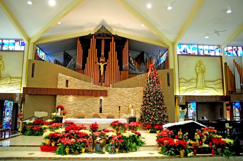 Catholic church interior at christmas stock image