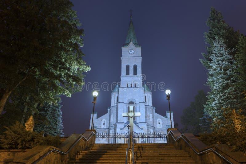 Catholic Church on the main street in Zakopane stock images