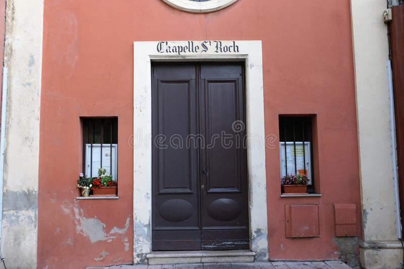 Church in Menton in France. Catholic church in Menton in South France in Europe La Chapelle St Roch royalty free stock photography