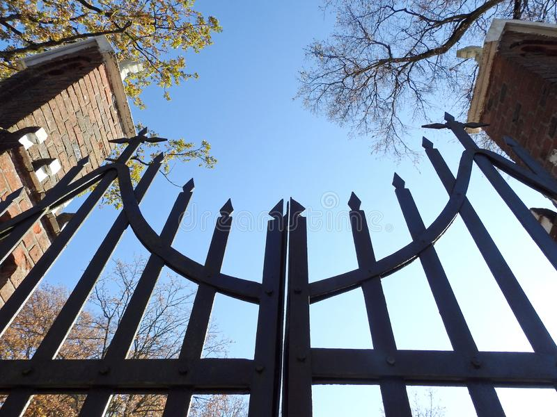 Beautiful old metallic gate of church, Lithuania royalty free stock image