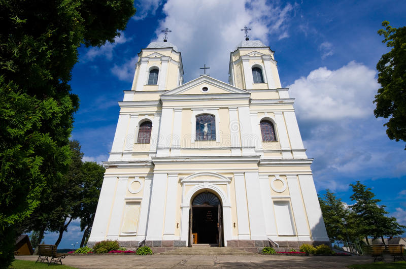 Catholic church in Moletai, Lithuania. Summer royalty free stock photos