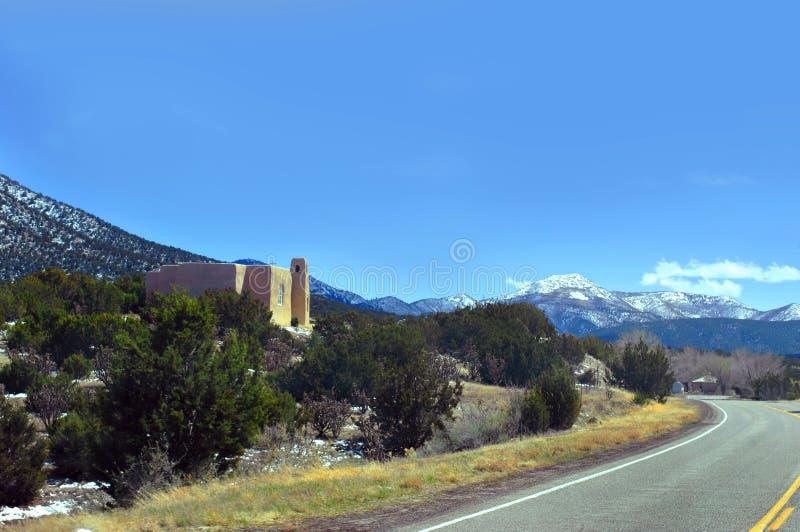 Catholic Church and New Mexico Scenery stock photo