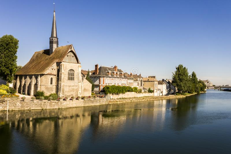 Sens, France. The Catholic church of Saint-Maurice in Sens, Burgundy, France stock photo