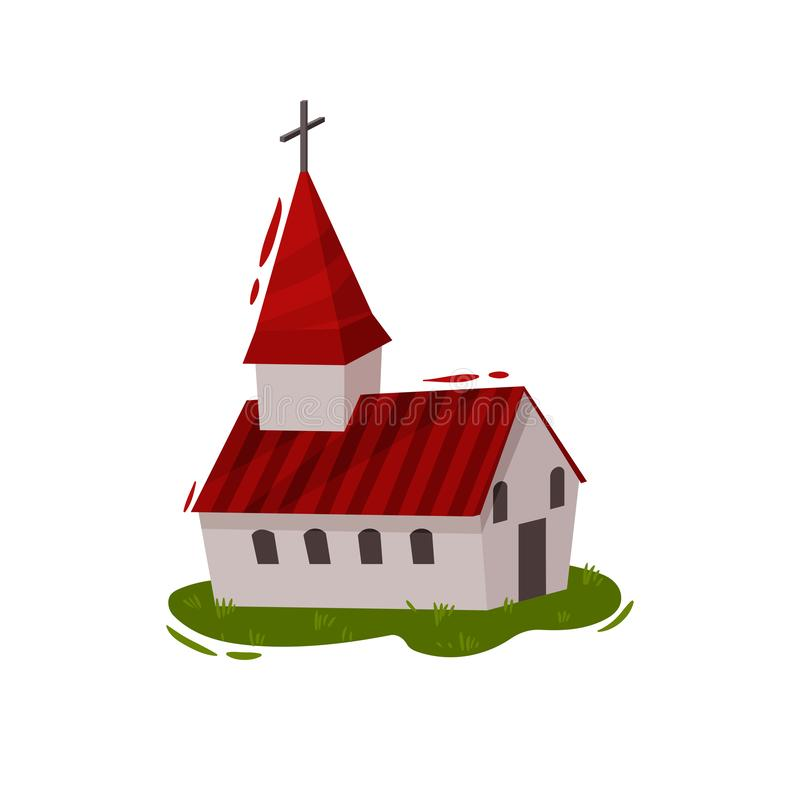 Catholic Church in the Scandinavian style. Vector illustration. stock illustration