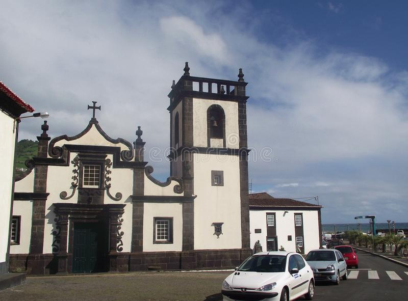 Catholic church in the small town Povoacao, on the island Sao Miguel, Azores. Povoacao, Sao Miguel, Azores – March 23, 2012: Catholic church in the small stock image