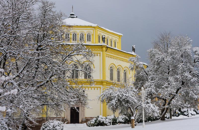 Catholic church in the small west Bohemian spa town Marianske La. Zne Marienbad - Czech Republic. Winter time royalty free stock photography