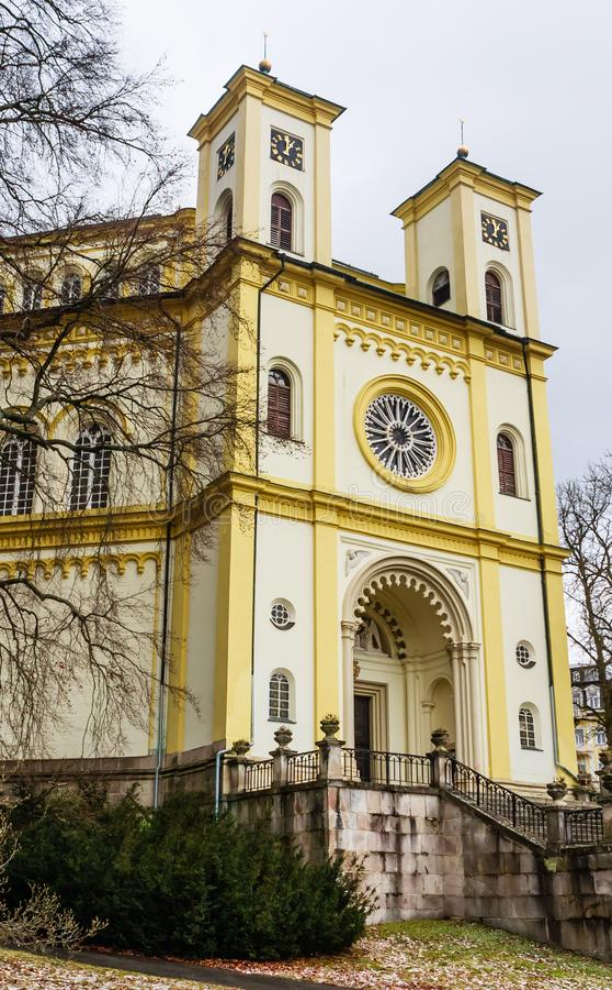 Catholic church in the small west Bohemian spa town Marianske La. Zne Marienbad - Czech Republic. Winter time royalty free stock photo
