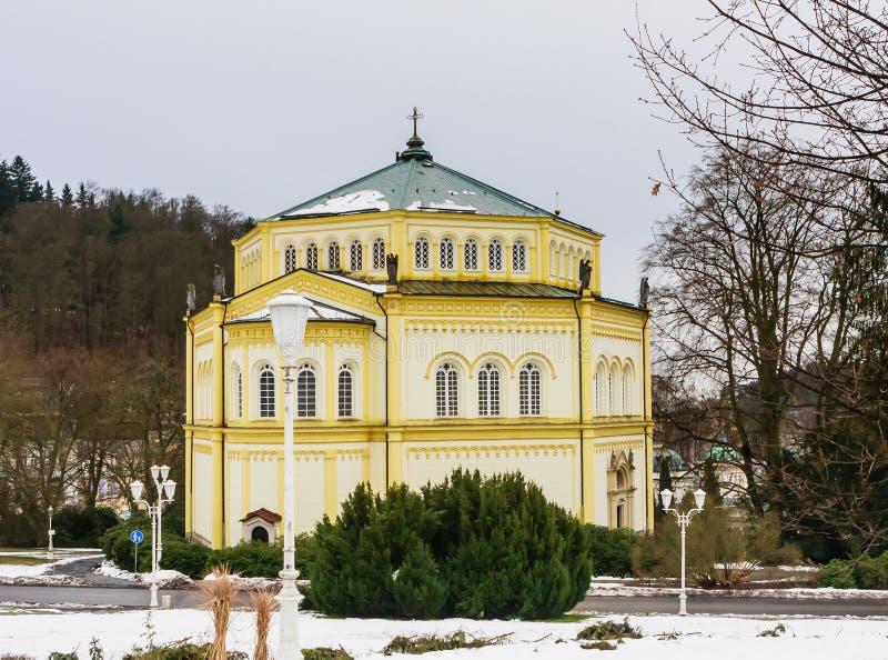 Catholic church in the small west Bohemian spa town Marianske Lazne. Marienbad - Czech Republic. Winter time royalty free stock photo