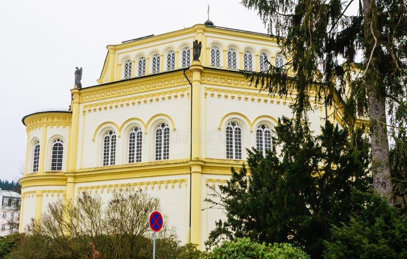 Catholic church in the small west Bohemian spa town Marianske Lazne. Marienbad - Czech Republic. Winter time stock photos