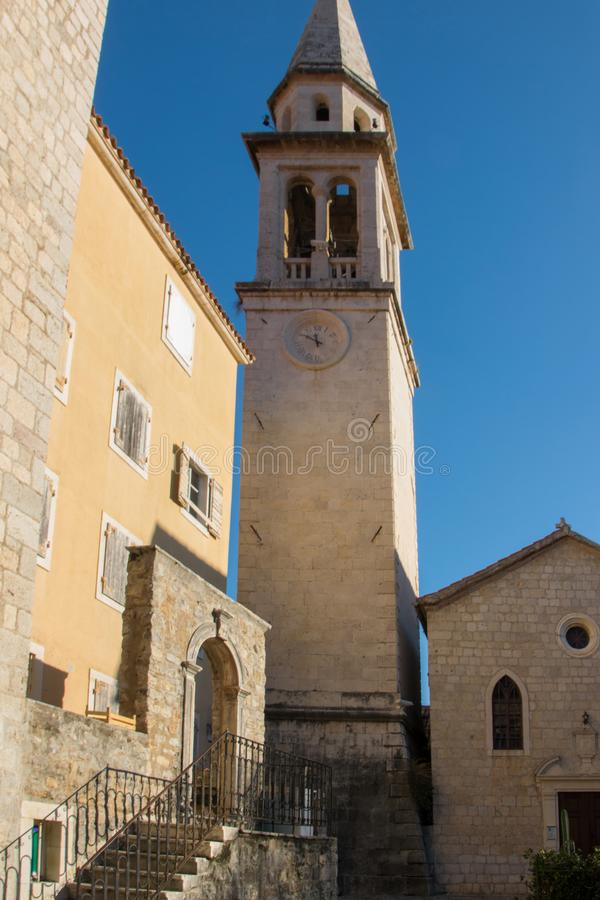 Catholic church of St. John the Baptist - the oldest of the fortified old city of Budva, Montenegro royalty free stock image
