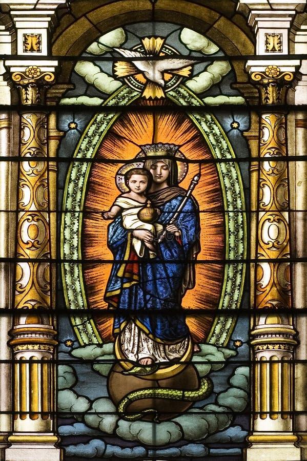 Catholic Church Stained Windows stock photo