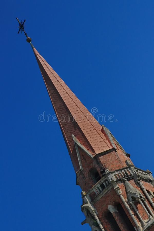 Catholic church tower in Cacica, Romania. stock photography