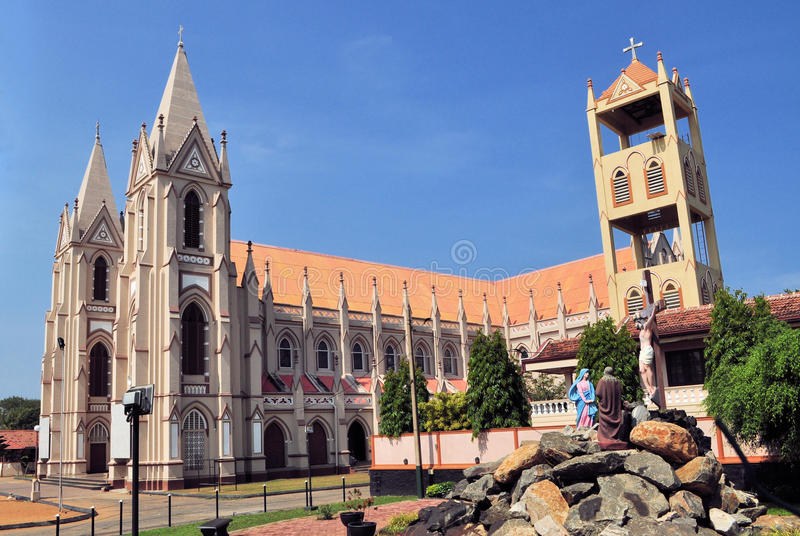 Catholic church with towers in Negombo, Sri Lanka stock photos