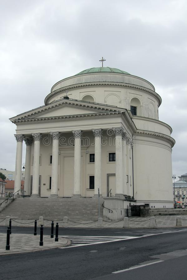 Catholic churches with classic Hellenistic portal. At Trzech Krzyzy Square. Colonnade with Corinthian order stock image