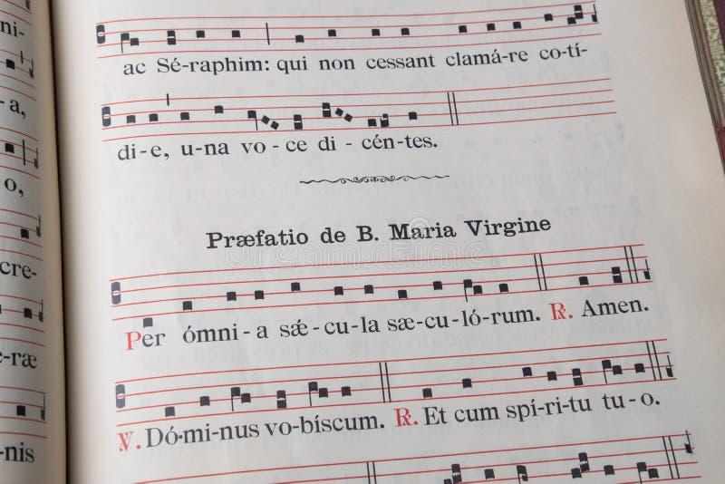 Liturgical Book Gregorian Chant In Latin - Gloria Editorial Stock