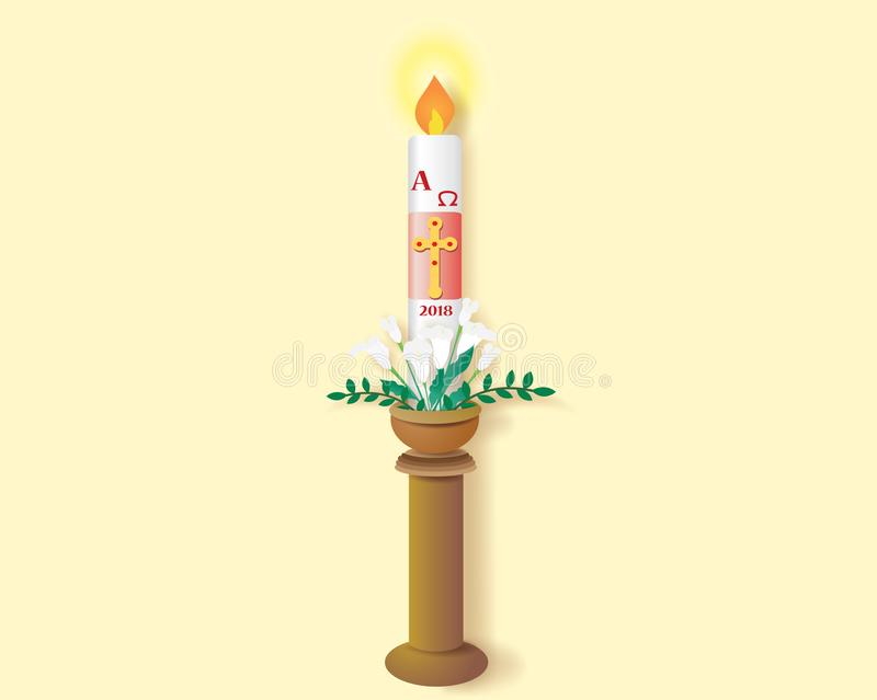 Catholic paschal candle with the burning vector illustration