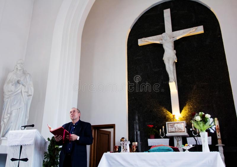 Catholic priest during Easter mass royalty free stock photography