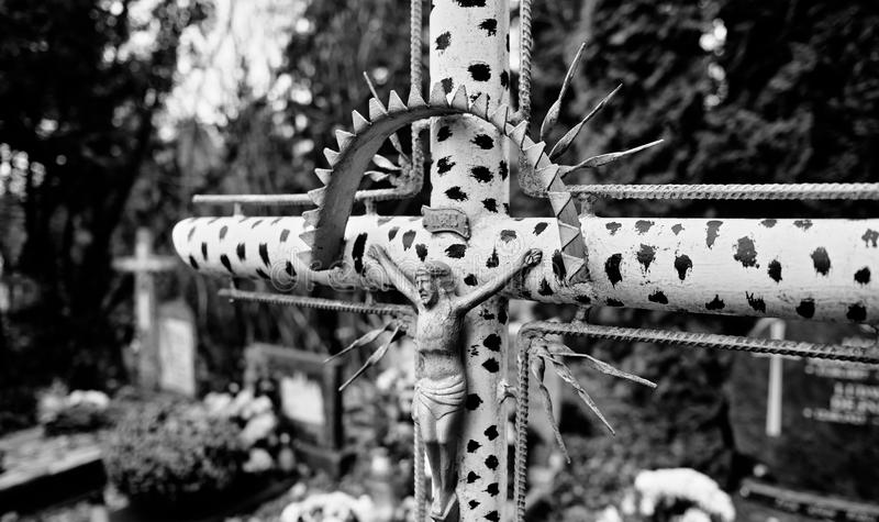 Catholic religious symbols. Catholic religious symbols on the Catholic cemeteries in Poland. Artistic look in black and white royalty free stock image