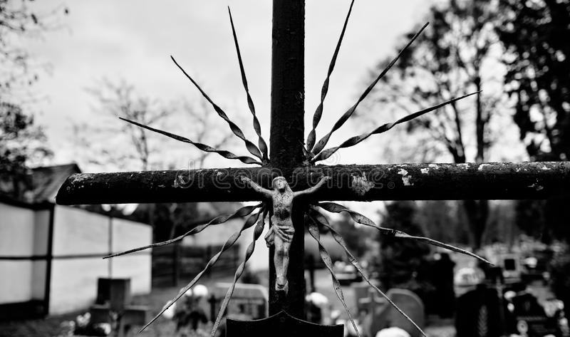 Catholic religious symbols. Catholic religious symbols on the Catholic cemeteries in Poland. Artistic look in black and white stock photo