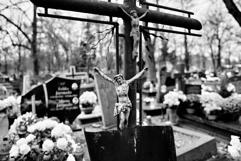 Catholic religious symbols. Catholic religious symbols on the Catholic cemeteries in Poland. Artistic look in black and white royalty free stock photo